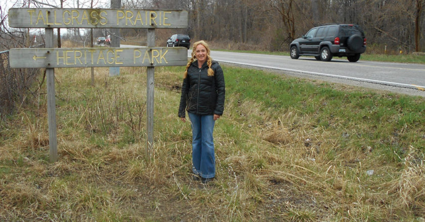 Save Ojibway leader Nancy Pancheshan, standing beside Matchette Rd