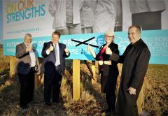 "Crossing out the word ""proposed"" on the billboard located at the County Road 42 site of the future Windsor Essex Regional Acute Care Hospital from left are: Tom Bain, Lakeshore Mayor and Warden of Essex County; David Musyj, President & CEO of WRH; Janice Kaffer, President & CEO HDG Healthcare and David Cooke, former NDP Minister and MPP."